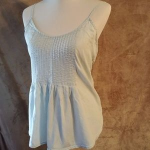 Light Blue Pintuck Tank Old Navy L